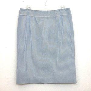Tahari seersucker pencil skirt blue white size 8
